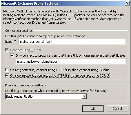 Outlook Microsoft Exchange Proxy Settings