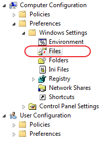 Computer Configuration > Preferences > Windows Settings > Files