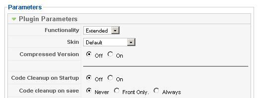 TinyMCE plugin parameters
