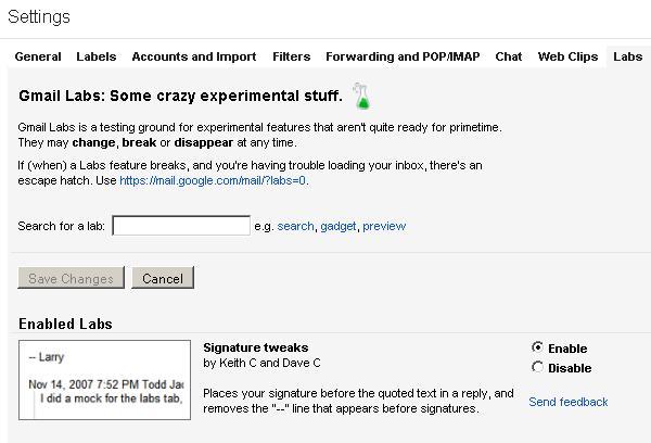 Gmail Settings > Labs > Signature tweaks> Enable