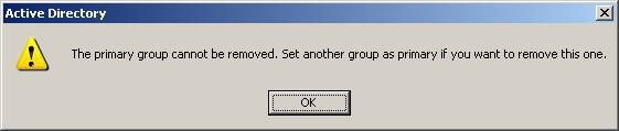 The primary group cannot be removed. Set another group as primary if you want to remove this one