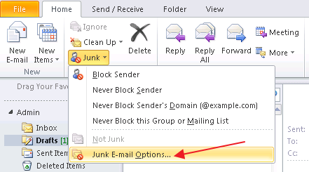 Home Tab > Junk > Junk E-mail Options…