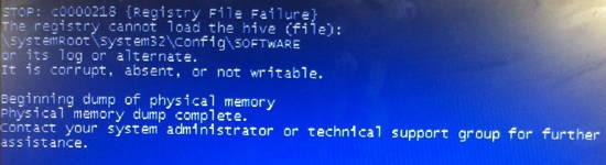 Stop: C0000218 {Registry File Failure}