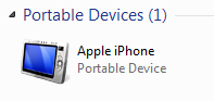 Apple iPhone under Portable Devices in Windows 7
