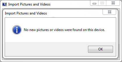 Import Pictures and Videos Wizard > No new pictures or videos were found on this device