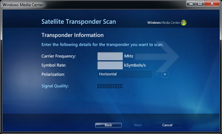 Windows Media Centre - Satellite Transponder Scan