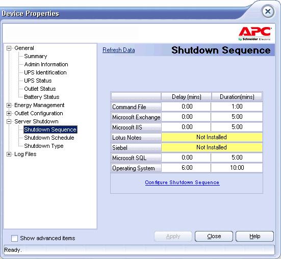 UPS APC - Configura sequenza di spegnimento