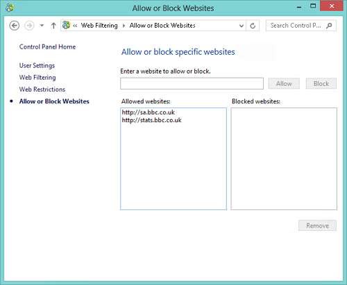 Windows 8 Family Safety - Allow or block websites