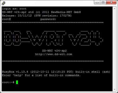 SSH into DD-WRT router