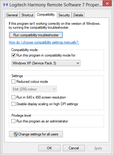 Windows XP Service Pack 3 compatibility mode