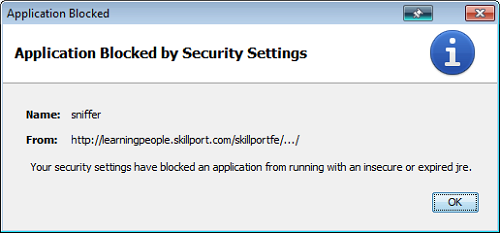 Your security settings have blocked an application