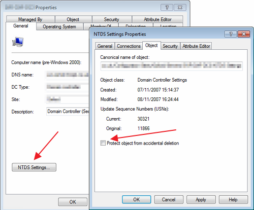 NTDS Settings Properties - Protect from accidental deletion