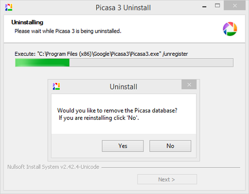Picasa 3 uninstall - would you like to remove database