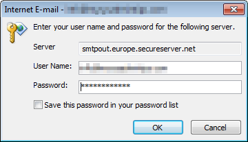 Internet E-mail - Enter your name and password