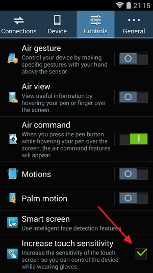 Samsung Note 3. Settings > Controls