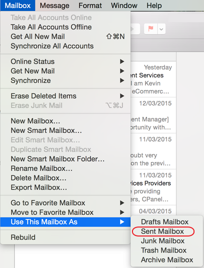 Apple Mail - Use This Mailbox As Sent Mailbox.
