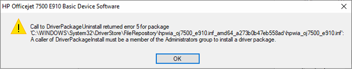 Call to Driver Package Uninstall returned error 5
