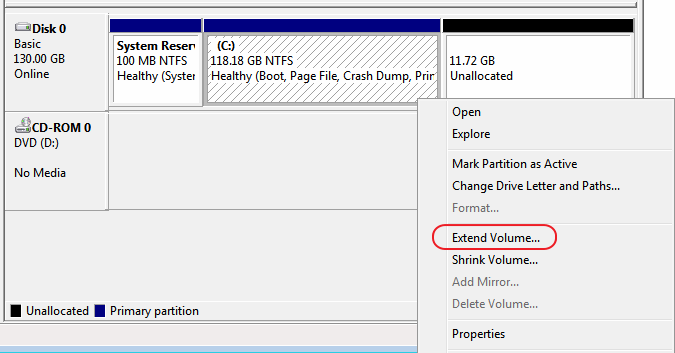 Windows Disk Management - Extend Volume