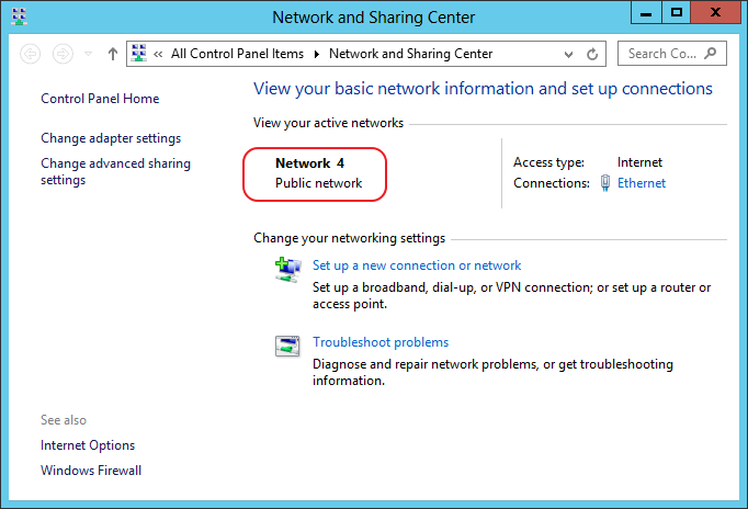 Windows Server Network and Sharing Center