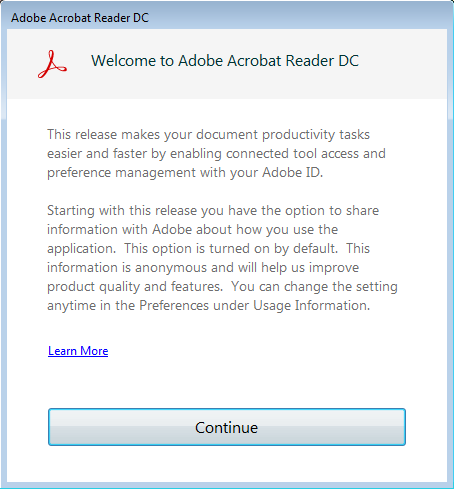 Welcome to Adobe Acrobat Reader DC