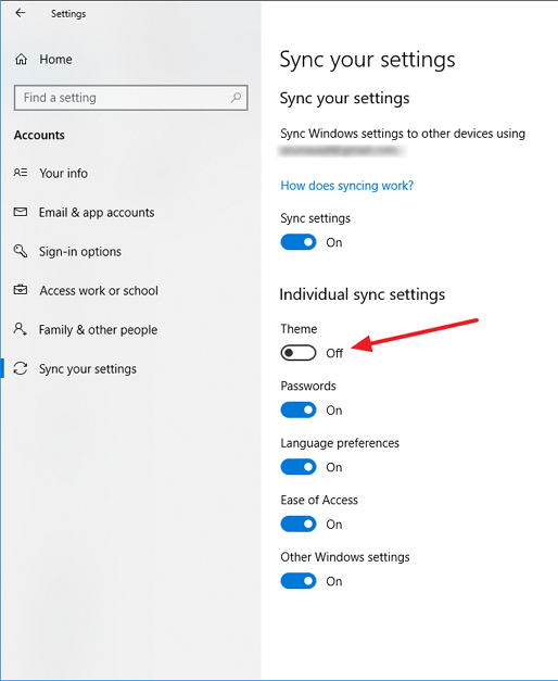 Windows 10 - Sync your settings