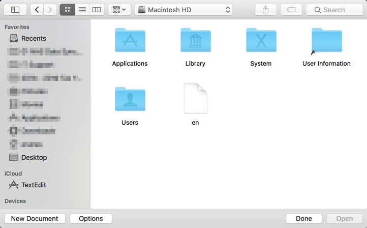 Mac OS - TextEdit File Picker