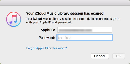 Your iCloud music library session has expired