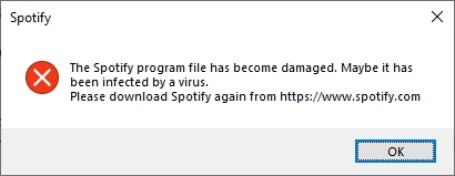The spotify program file has become damaged