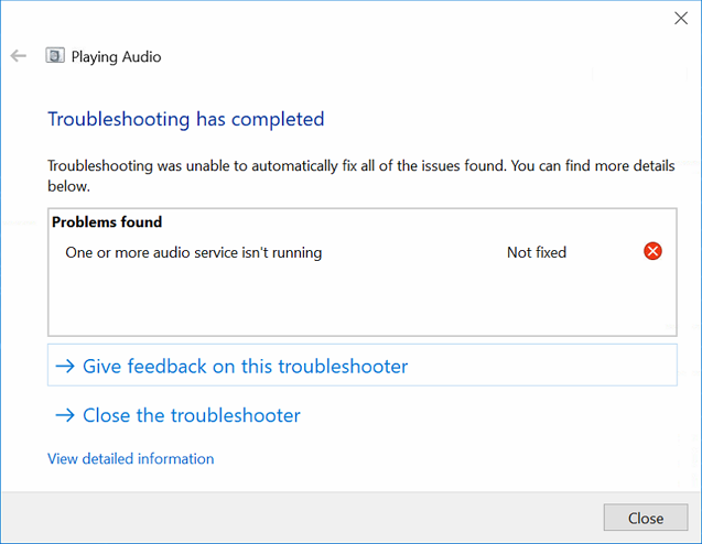 Windows 10 audio troubleshooter