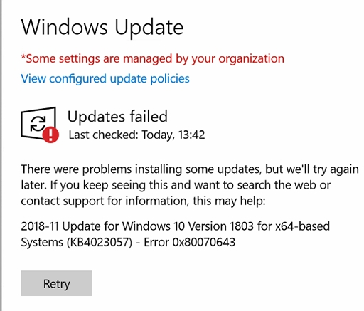 Windows Update - Updates Failed
