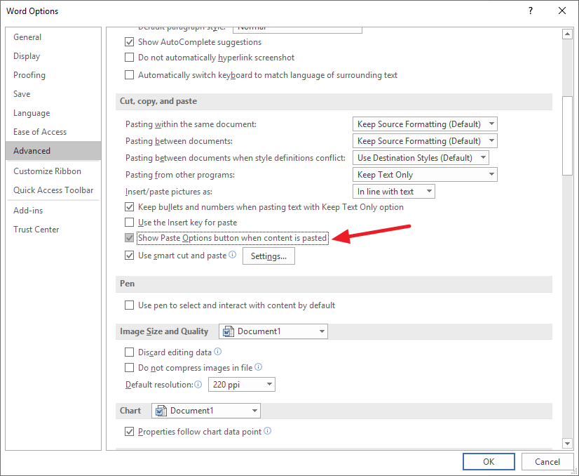 MS Office Cut, copy, and paste options