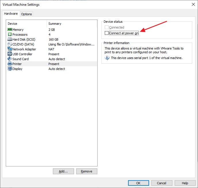 VMware Workstation VM Settings