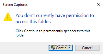 You don't currently have permissions to access this folder