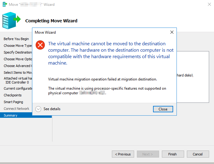 Hyper-V - The virtual machine cannot be moved