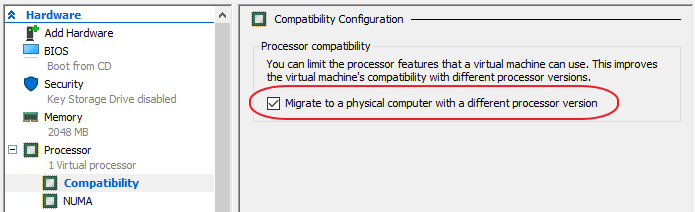 Migrate to a physical computer with a different processor version