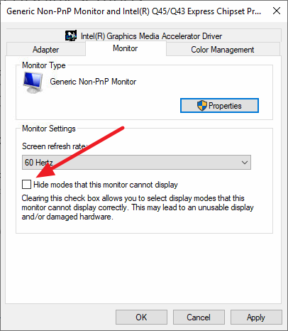Hide modes that this monitor cannot display