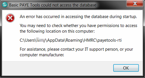 Basic PAYE Tools could not access the database