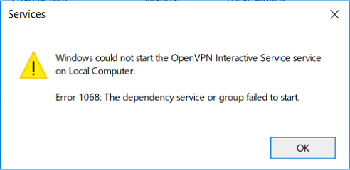 Windows could not start the OpenVPN Interactive Service service