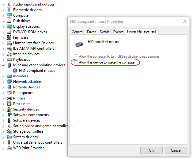 Device Manager > Mouse Power Management