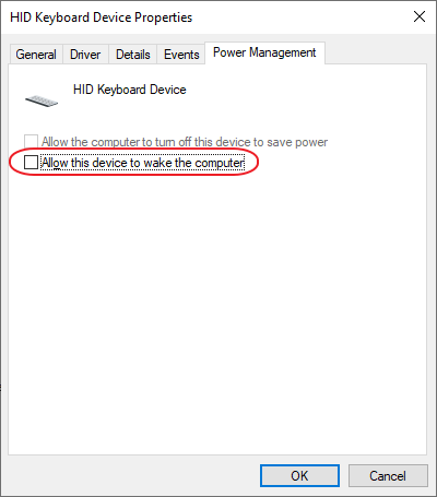 Device Manager > Keyboard Power Management