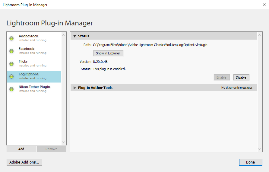 Adobe Lightroom Plugin Manager